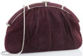 "Luxury Accessories:Accessories, Judith Leiber Purple Suede & Karung Clutch Bag with SilverHardware. Good Condition. 13"" Width x 7"" Height x 1""Width..."