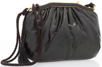 """Judith Leiber Black Karung Shoulder Bag with Gold Hardware Very Good Condition 9"""" Width x 6"""" Heig"""