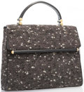 "Luxury Accessories:Accessories, Judith Leiber Gray Wool Jacquard Top Handle Bag with Gold Hardware. Very Good to Excellent Condition. 11.5"" Width x 10"" H..."