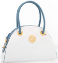 """Luxury Accessories:Accessories, Judith Leiber Blue Karung & White Leather Tote Bag with GoldHardware. Very Good Condition. 11"""" Width x 8"""" Height x2""""..."""