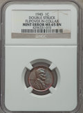 Errors, 1945 1C Lincoln Cent -- Double Struck, Flipover in Collar -- MS65 Brown NGC....