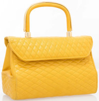 "Judith Leiber Yellow Quilted Leather Top Handle Bag with Gold Hardware Good Condition 7.5"" Width"