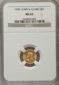 Commemorative Gold, 1905 G$1 Lewis and Clark Gold Dollar MS63 NGC....