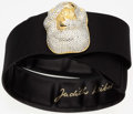 "Luxury Accessories:Accessories, Judith Leiber Black Satin Belt . Good Condition. 2"" Width x 30""Length. ..."