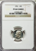 Proof Roosevelt Dimes, 1951 10C PR66 Cameo NGC. NGC Census: (56/267). PCGS Population(115/159). Numismedia Wsl. Price for problem free NGC/PCGS ...