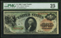Large Size:Legal Tender Notes, Fr. 18 $1 1869 Legal Tender PMG Very Fine 25.. ...
