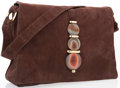 "Luxury Accessories:Accessories, Judith Leiber Brown Suede & Agate Shoulder Bag with GoldHardware. Very Good Condition. 13"" Width x 9"" Height x 3""Wid..."