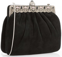 "Judith Leiber Black Suede Evening Bag Excellent Condition 7.5"" Width x 6"" Height x 1.5"" Depth"