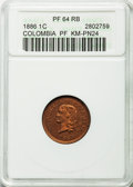 Colombia, Colombia: Republic copper Pattern Proof Centavo 1886 PR64 Red andBrown ANACS,...