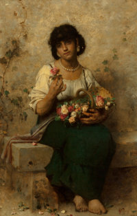 After Leon Jean Basile Perrault The Flower Vendor Oil on canvas 51 x 33 inches (129.5 x 83.8 cm)