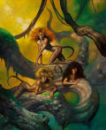 Pulp, Pulp-like, Digests, and Paperback Art, Boris Vallejo (American, b. 1941). Predators (Hebat), 1990.Oil on board. 24 x 19.75 in.. Signed and dated center right...