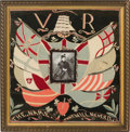 Photography:Studio Portraits, Commemorative crewel embroidery containing a photograph of Queen Victoria. ca. 1897.. ...