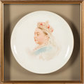 Miscellaneous:Ephemera, F. Claxton. Queen Victoria. Hand-painted porcelain platter.Signed lower right image recto, ca. 1890.. ...