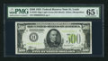 Small Size:Federal Reserve Notes, Fr. 2201-H $500 1934 Light Green Seal Federal Reserve Note. PMG Gem Uncirculated 65 EPQ.. ...