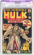 Silver Age (1956-1969):Superhero, The Incredible Hulk #1 (Marvel, 1962) CGC Apparent GD+ 2.5 Slight (C-1) Cream to off-white pages....