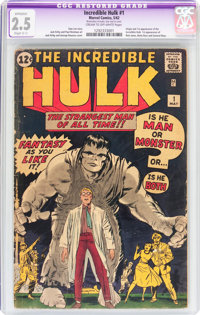 The Incredible Hulk #1 (Marvel, 1962) CGC Apparent GD+ 2.5 Slight (C-1) Cream to off-white pages