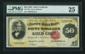 Large Size:Gold Certificates, Fr. 1193 $50 1882 Gold Certificate PMG Very Fine 25.. ...