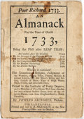 Books:Americana & American History, [Benjamin Franklin]. 1849 Reprint of Poor Richard, 1733. AnAlmanack for The Year of Christ 1733. ...