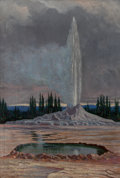 Fine Art - Painting, American:Antique  (Pre 1900), Grafton Tyler Brown (American, 1841-1918). Castle Geyser,Yellowstone National Park, 1891. Oil on canvas laid on board....