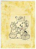 Original Comic Art:Covers, Warren Kremer - Little Lotta #106 Cover Original Art (Harvey,1973). Food charmer, Little Lotta, plays with her food, in thi...