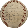 Autographs:Baseballs, 1940 Washington Senators Team Signed Baseball. The OAL (Harridge)baseball is remarkable condition despite it's age. Exhibi...