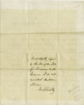 """Autographs:U.S. Presidents, President Ulysses S. Grant Autograph Endorsement Signed, """"U. S.Grant"""", on back of two page letter to Grant, 8.75"""" x 10""""..."""