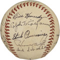 Autographs:Baseballs, 1950 St. Louis Browns Team Signed Baseball. The 1950 St. LouisBrowns finished 7th in the league despite the best efforts o...