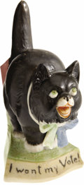 Political:3D & Other Display (1896-present), Votes for Woman Black Bisque Cat Figure...