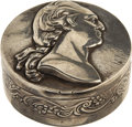 Political:3D & Other Display (pre-1896), George Washington: An Elegant High-Relief Silver Snuff Box....