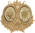 Political:Ferrotypes / Photo Badges (pre-1896), Butler & West: A Very Rare 1884 Third Party Jugate Badge. ...