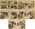 "Military & Patriotic:Civil War, COMPLETE SET ""CHAMPION PRIZE ENVELOPES - LINCOLN & DAVIS IN 5 ROUNDS"" 1861...."