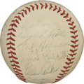 Autographs:Baseballs, 1940 St. Louis Browns Team Signed Baseball. Twenty-five members ofthe 1940 St. Louis Browns have checked in on the OAL (Ha...