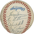 Autographs:Baseballs, 1990 New York Yankees Team Signed Baseball. Twenty-five members ofthe 1990 New York Yankees appear on this OAL (Brown) bas...