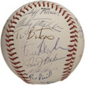 Autographs:Baseballs, 1985 Oakland Athletics Team Signed Baseball. The Oakland Athleticsofficial team baseball is supported with twenty-five sig...