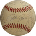 Autographs:Baseballs, 1986 Cincinnati Reds Team Signed Baseball. Twenty-four of the 1986Cincinnati Reds squad managed by Pete Rose can be identi...