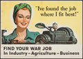 "Movie Posters:War, World War II Propaganda (U.S. Government Printing Office, 1943).OWI Poster No. 55 (30"" X 40"") ""I've Found the Job Where I F..."