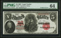 """Large Size:Legal Tender Notes, Fr. 91* $5 1907 """"PCBLIC"""" Error Legal Tender PMG Choice Uncirculated 64.. ..."""