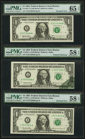 Error Notes:Foldovers, Error Note with Bookends Fr. 1921-A $1 1995 Federal Reserve Notes.Three Consecutive Examples. PMG Graded.. ...