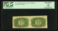 Fr. 1245 Milton 2R10.2d 10¢ Second Issue Uncut Horizontal Pair with Inverted Surcharges PCGS Apparent Very Fine 35