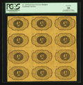 Fractional Currency:First Issue, Fr. 1230 Milton 1R5.4g 5¢ First Issue Block of Twelve Inverted Backs PCGS Very Fine 30.. ...
