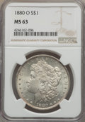 Morgan Dollars: , 1880-O $1 MS63 NGC. NGC Census: (1906/996). PCGS Population (2593/1383). Mintage: 5,305,000. Numismedia Wsl. Price for prob...