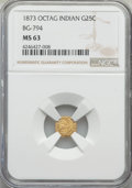 California Fractional Gold , 1873 25C Indian Octagonal 25 Cents, BG-794, High R.5, MS63 NGC. NGCCensus: (4/7). PCGS Population (6/18). ...