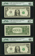 Error Notes:Third Printing on Reverse, Error Note with Bookends Fr. 1934-A $1 2009 Federal Reserve Notes. Three Consecutive Examples. PMG Graded.. ...