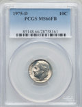 Roosevelt Dimes, 1975-D 10C MS66 Full Bands PCGS. PCGS Population (39/5). NGC Census: (8/10). Mintage: 313,705,312. Numismedia Wsl. Price fo...