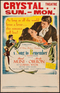 """A Song to Remember (Columbia, 1945). Window Card (14"""" X 22""""). Drama"""