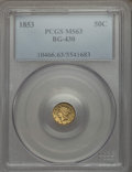 California Fractional Gold , 1853 50C Liberty Round 50 Cents, BG-430, R.3, MS63 PCGS. PCGSPopulation (46/25). NGC Census: (5/7). ...