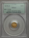 California Fractional Gold , 1875/3 50C Indian Round 50 Cents, BG-1058, R.3, MS63 PCGS. PCGSPopulation (44/17). NGC Census: (6/0). ...