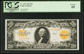 Large Size:Gold Certificates, Fr. 1187 $20 1922 Gold Certificate PCGS Gem New 65.. ...