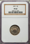 Proof Shield Nickels: , 1871 5C PR64 NGC. NGC Census: (99/116). PCGS Population: (171/141). CDN: $400 Whsle. Bid for NGC/PCGS PR64. Mintage 960. ...