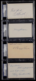 Baseball Collectibles:Others, Baseball Greats Signed Index Cards and GPC's Lot of 4....